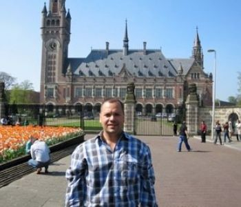 OHM's Aldo Reyes at the Peace Palace HQ of the International Court of Justice in the Hague