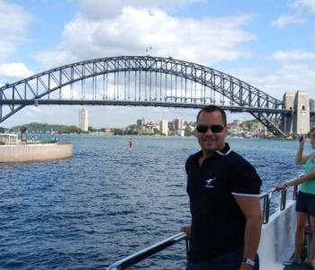 OHM's Aldo Reyes on ferry near Sydney Harbour