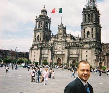 OHM's Aldo Reyes in front of the Metropolitan Cathedral of the Assumption Mexico City