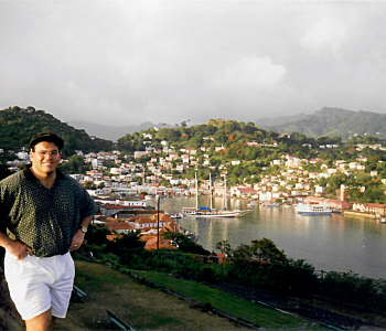 P. Michael Gandolfo III at St. George's University above the harbor in Grenada