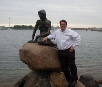 OHM's P. Michael Gandolfo III at the Little Mermaid Landmark in Copenhagen