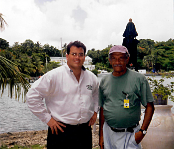 OHM's P. Michael Gandolfo III with St Lucia's 1992 Nobel Prize winner in literature, Derek Walcott