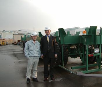 OHM's Mitsuaki Hirano with MES's Mr.Takeyama (san) at their Oita facility in Kyushu Island Japan