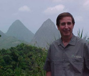 OHM's Pat Marshall in front of the Grand Pitons in Soufriere