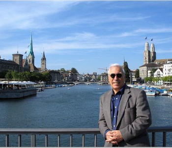 OHM's Pete Gandolfo Jr. on bridge to the old city in Zurich
