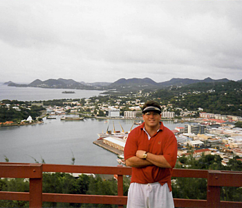 OHM's P. Michael Gandolfo III at the government house atop Castries harbour