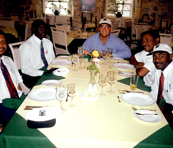 OHM's P. Michael Gandolfo having lunch with C&W's: Foster Hannoway, Garth Williams, Lucien Small & Andrew Providence